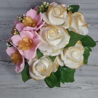 """Букет цветов из мыла """"Розы белые и Орхидеи"""""""