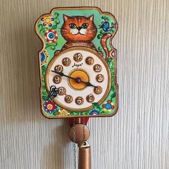 """Расписные часы.Часы с  росписью, ходики настенные механические Маяк """"Кот"""""""