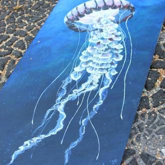 "Картина акрилом ""Изящество"", медуза, море, океан"