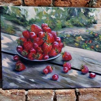 Картина маслом живопись натюрморт Клубника и черешня