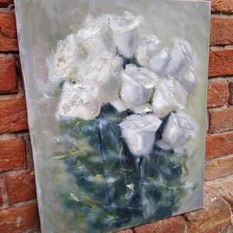 Картина маслом живопис Букет троянд
