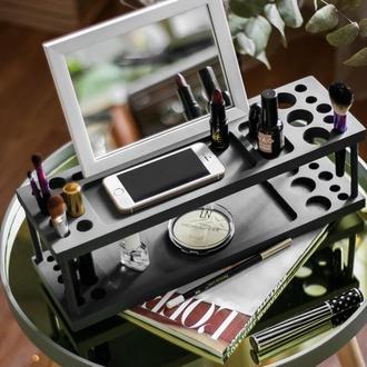 Органайзер для косметики, підставка для косметики, beauty statio, дерев'яний органайзер, подарунок