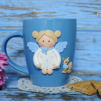 Чашка для чая Девочка с собачкой