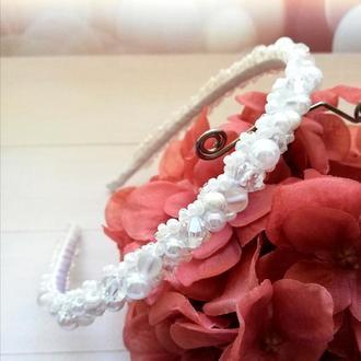 Ободок из бусин White pearl. Ободок из бусин.