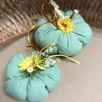 Текстильные осенние тыквочки, осенний декор в стиле кантри
