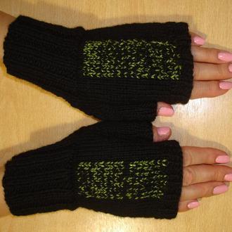 Митенки вязаные перчатки без пальцев - тайна зеленого