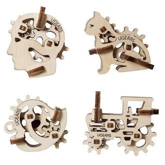 """Механический 3D-конструктор Ugears """"Фиджети-Трибики. Набор из 4 шт."""""""