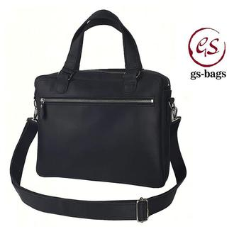 Мужская кожаная сумка GS для документов А4 черная