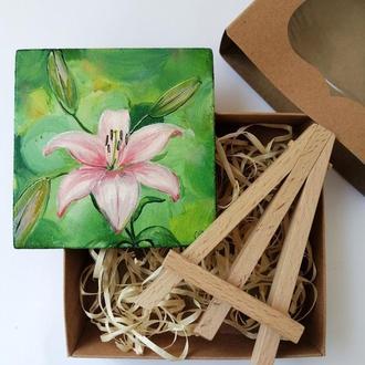 Подарочный набор, Картина с лилией, Оригинальная картина на подарок, Масляная живопись, Лилии маслом