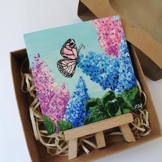 Картина маслом сирень и бабочка, Подарочный набор с картиной, Картина на подарок, Подарочный бокс