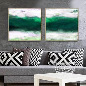 """Абстрактная картина в зеленых тонах """" Изумрудная река"""""""