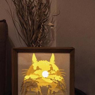 Тоторо. Лампа-ночник из вытынанки