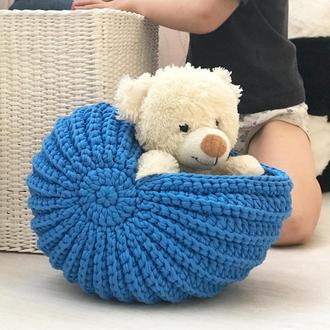 Мушля ракушка гачком кошик з т-пряжі кошик для декору декоративний кошик для дитини подарунок