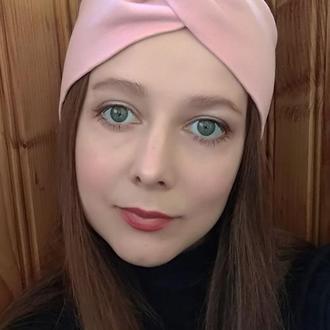 Повязка на голову чалма розовая женская тюрбан узелок для волос