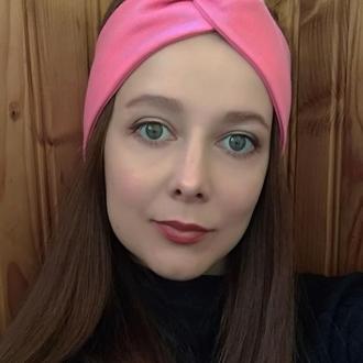 Повязка на голову рожева чалма жіноча тюрбан узелок для волос