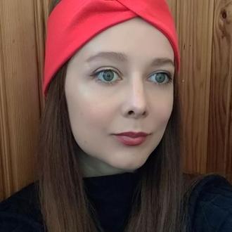 Пов'язка на голову червона чалма жіноча тюрбан вузлик для волосся
