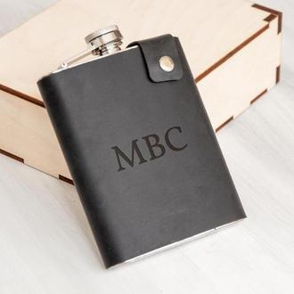 Подарочная фляга с индивидуальной гравировкой, кожаный чехол, сталь, 240 мл, Black