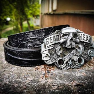Кожаный байкерский ремень, стильный ремень подарок байкеру
