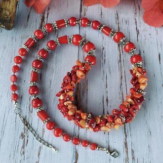 """Кораловое ожерелье: """"Оттенки страсти"""""""