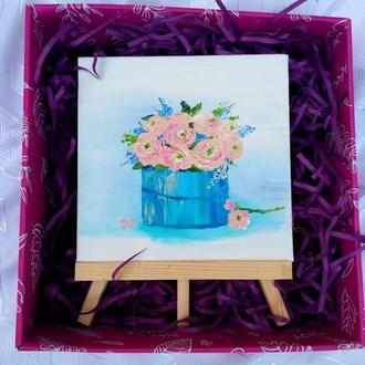 Подарунковий набір: маленька картина «Ніжність» з підставкою-мольбертом