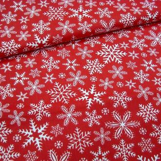 Новогодний хлопок  красные снежинки