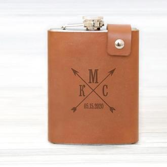Фляга в чехле из натуральной кожи с именной гравировкой, 240 мл, Brown