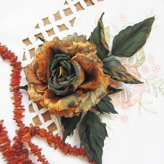 БРОШЬ — роза «Золотая осень»