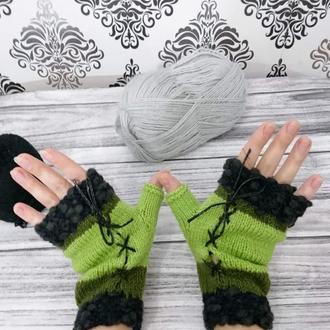 Перчатки без пальцев  - Подарки для нее - Вязаные варежки
