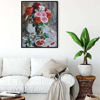"""Натюрморт масляными красками на холсте """"Розовый букет"""" 43*56"""