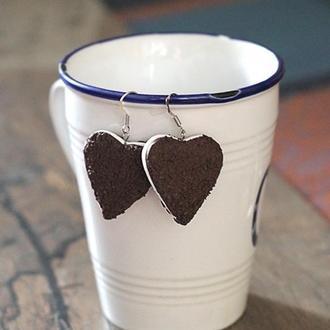 """Серьги """"Шоколадные печеньки"""" из полимерной глины"""