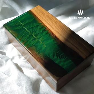 Скринька з горіха і епоксидної смоли, шкатулка с папоротником