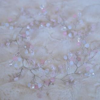 """Свадебная веточка, ободок с розовым кварцем """"Облака"""""""