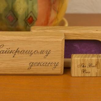 Деревянная флешка со шкатулкой на 16, 32 Гб