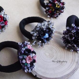 Цветочная резинка. Black flowers