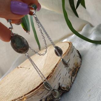 Кафф с клипсой с натуральным пиритом ′Листопад′