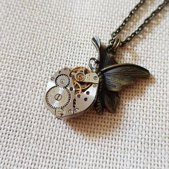 Бабочка  кулон в стиле Steampunk Стимпанк