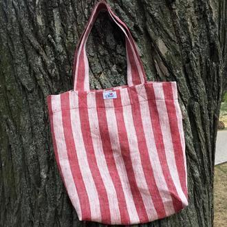 Лляна еко сумка, торба, шопер, пляжна сумка / Льняная эко сумка, шоппер, пляжная сумка