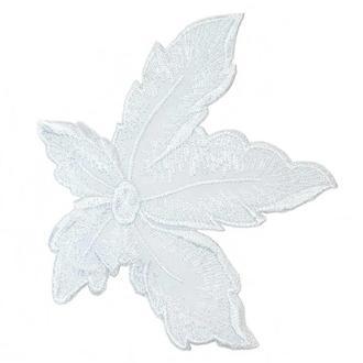 Белый цветок на сетке Embroidery 115x100 мм вышивка (51512)