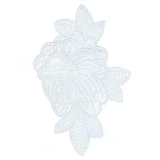 Белый цветок на сетке Embroidery 115x75 мм вышивка (51511)