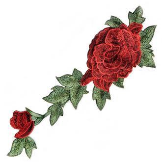 Красная роза 2 бутона на сетке Embroidery 115x330 мм (51093)