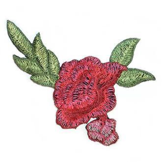 Красная роза на сетке два бутона Embroidery 115x85 мм (55061)
