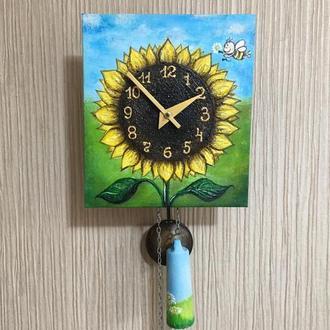 """Расписные часы.Часы с  росписью ,ходики настенные механические """"Подсолнух"""""""