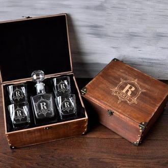 Мужской стеклянный набор для виски с именной гравировкой