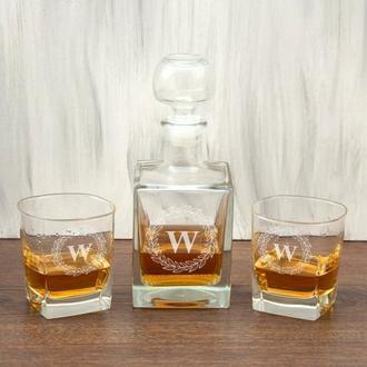 Стеклянный мужской набор для виски с круглой монограммой