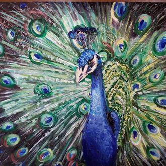 Синяя птица 30x40 см Оригинальная акриловая живопись в интерьер Яркий, красочный павлин 2016