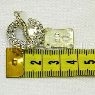Шубный крючок-застежка (клипса) со стразами, серебро 3,5 см (653-Т-0031)