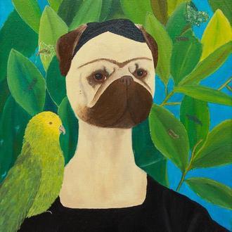 Фрида Мопсло — Автопортрет с попугаем и бабочкой. Мопс. Портрет собаки