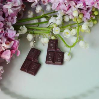 """Серьги """"Шоколадки"""" из полимерной глины"""
