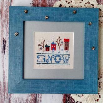 """Картина вышитая крестом """"Снежный день"""""""