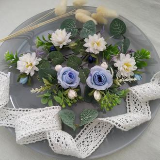 Шпильки свадебные Бело-Голубые Шпильки с цветами Шпильки для прически невесты